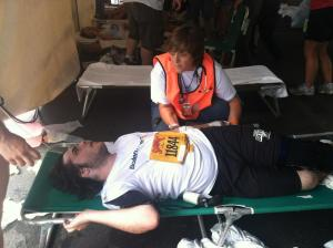 Will in the EMS Sation at the Boilermaker finish line - July 8, 2012