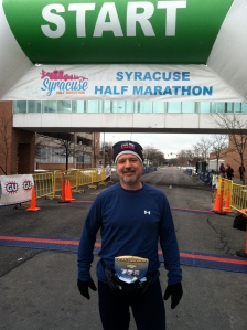 Yeah, it was THAT cold! Inaugural Syracuse 1/2 Marathon, March 24, 2013.