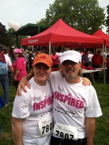 Hannah and Dad at the Susan G. Koman Race for the Cure. State Fairgrounds, Syracuse NY. May 18, 2013.