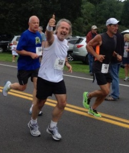 It's easy to look happy when you're just a mile in! Arc of Onondaga 1/2 Marathon, September 7, 2013.