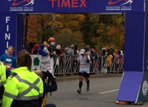 Finish line, Niagara Falls International Marathon, October 26, 2014