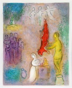 Marc Chagall (1887 - 1985): Sacrifice aux Nymphes (Sacrifices Made to the Nymphs) from Daphnis & Chloe, 1961.