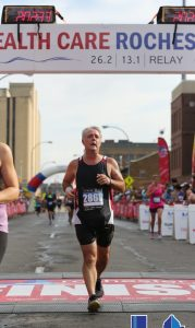 Finishing the Rochester Half Marathon, September 18, 2016